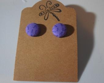 Purple Swirl Button Earrings