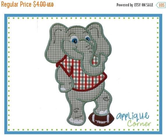 40% OFF 709 Elephant Standing Mascot Football applique digital design for embroidery machine by Applique Corner