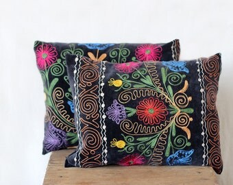 Uzbek suzani pillow, 12x16, SET of TWO, decorative pillow, silk cotton, charcoal velour pillow case, velvet cushion cover, floral needlework