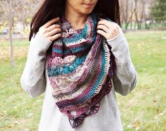 "CROCHET PATTERN woman lace block shawl, women asymmetrical shawl,  scarf, wrap, ""Playful shawl"", Instant download"