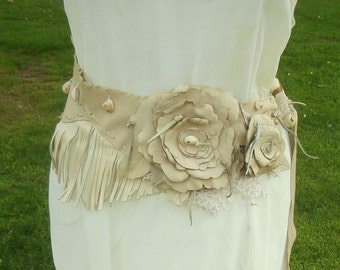 Leather Shell, Lace and Fringe Belt