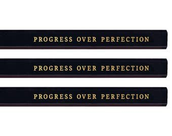 Progress Over Perfection Carpenter Pencil set. Funny pencils. Gold pencils. Cute pencils. Gold pencils. Fathers Day gift. Mothers Day gift.