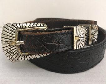 "Vintage Hand Tooled Southwest Black Leather Belt Size 28"" - 31"""