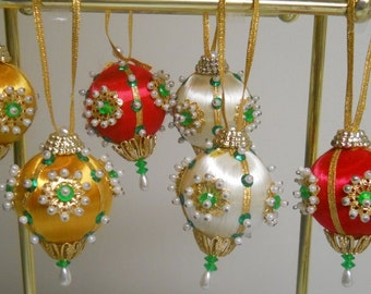 Stunning Satin Beaded Ornaments Six Christmas Holiday Wreath Crafts Hollywood Regency Decor Free Shipping