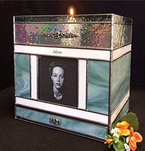 Adult Cremation #212H Candle Photo Urn and Keepsake Drawer