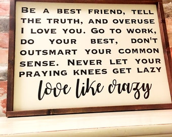 Love like Crazy painted wood sign