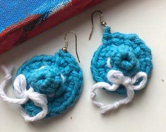 Blue Crochet Earrings Turquoise Earrings Hat Earrings Knit Earrings