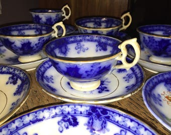 Victorian Flow Blue Cups and Saucers Holly Leaves and Berries Gold Leafing