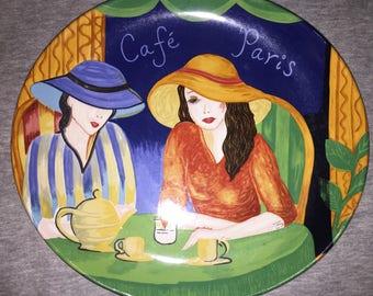 Sango Cafe Paris Scenic Women in Big Hats Collectible Plate Circa 1994