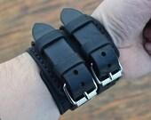 Leather Bracelet-men bracelet-handmade- Black
