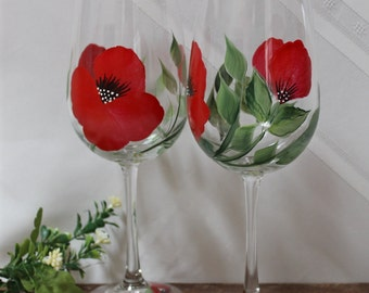 Hand Painted Wine Glasses (Set of 2)  - Red Poppy