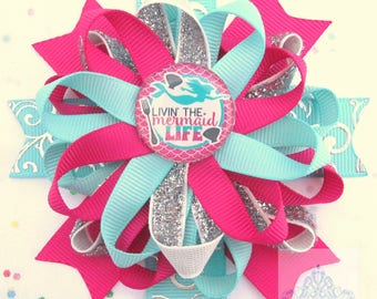little mermaid,mermaid headband,birthday girl,first birthday,hair bows,no slip hair clip,hair accessories,pink and blue,silver,hairpiece