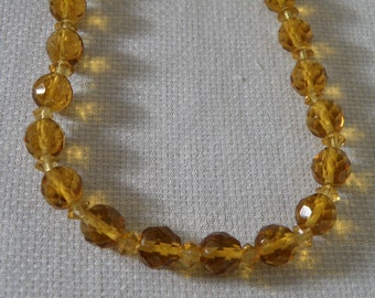Vintage Faceted Gold Crystal Necklace - 18 inch