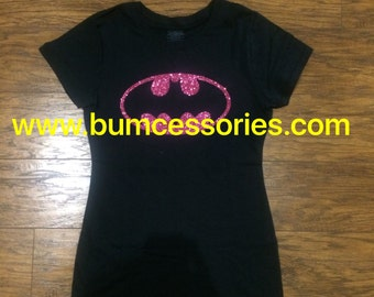 Batman T-shirt Shirt Toddler Girl Woman Batgirl Logo Outline Pink Sparkle Glitter T-Shirt