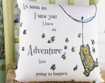 Winnie the Pooh Pink Pillow Adventure quote. Classic Winnie the pooh gift. Winnie the pooh girls nursery or  baptism gift