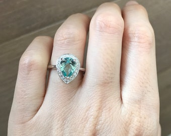 Pear Shape Engagement Ring- Halo Green Quartz Promise Ring- Green Gemstone Bridal Ring- Green Topaz Anniversary Ring