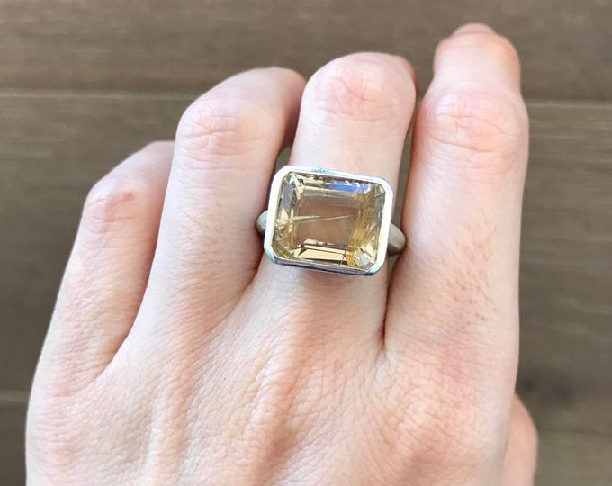 Rutile Quartz Statement Ring-Rectangle Shape Engagement Ring-Alternative Engagement Ring-Nontraditional Engagement Ring-Unique Gemstone Ring