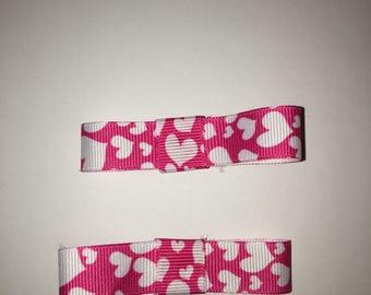 Two Hair Bows - Ribbon Hair Bow - Hair Bow with Hearts - Child's Hair Bow - Pink Hair Bow with Hearts