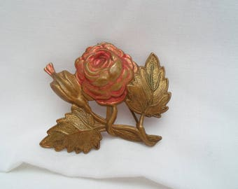 Beaten copper rose brooch