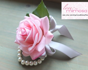 Pink and Silver Corsage, Pink Rose with silver ribbon and rhinestone accent, pearl bracelet