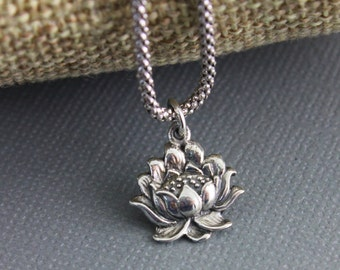 Sterling Silver Lotus Charm /  Pendant with Open Jump Ring, Shiny Finish, Sweet Jewelry Component Finding,  (SS/CH4/CR106)
