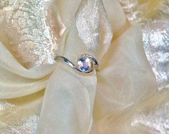 Swirl Engagement Ring Rainbow Moonstone in Sterling Silver