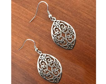 Silver filigree Earrings, Gifts for Mom, Teardrop Earrings, Hypoallergenic Jewelry, Stainless Steel Hook Earrings