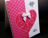 Shop Closing Sale Pink Die Cut Heart Happy Valentine's Day Card - Valentine Card - Die Cut  Cards - Pink and White Valentine Card - Hand Sta