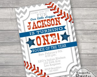 Baseball Rookie of the Year 1st Birthday Invitations Invite Lil Slugger Printable One Personalized Chevron Customized 5x7 or 4x6