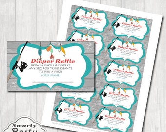 Matching Fishing Diaper Raffle Insert for Baby Shower Printable PDF File - Instant Download
