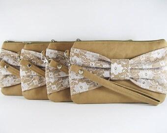 SALE - Tan Lace Bow Clutch / Bridal Clutch / Bridesmaids Clutch / Wedding Clutch | 9.90 USD per piece.