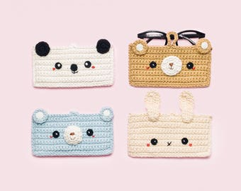 Animals Glasses Crochet Pouch.