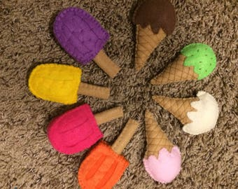Felt popsicles and ice cones