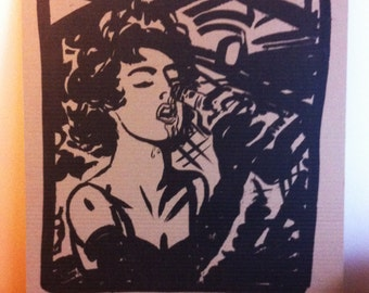 Design, screen printing, silk screen print, original artwork, numbered, signed - portrait sexy girl on card/cardboard