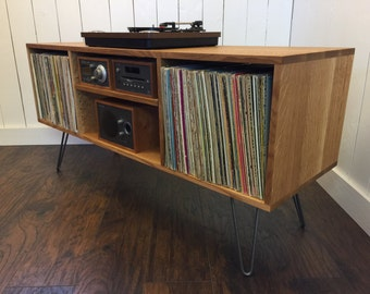 Mid Century Modern Record Player Console, Turntable, Stereo Cabinet With LP  Album Storage.