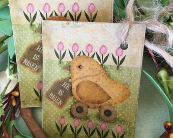 He is Risen Easter Tag