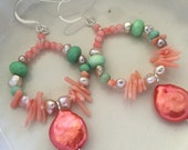 Coral, Chrysoprase, and Freshwater Pearl Earrings