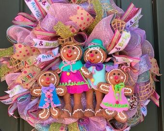 Whimsical gingerbread Chris wreath