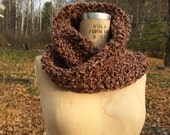 Crochet Cowl Scarf / Infinity Scarf / chunky knit scarf and shawl in one / one size / Rustic rose non-wool yarn / stretchy and soft