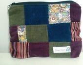 Sun Patchwork Fabric Corduroy Pouch, Cosmetics, Festivals, One of a kind, Hippie Patchwork Zipper Bag