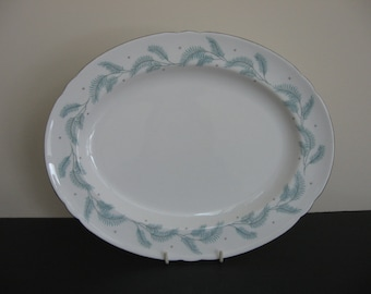 "Vtg SHELLEY Bone China ""SERENITY"" Platinum Rims TURQ Leaves Platter 13"""