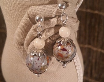 Custom Keepsake / Memorial Bead Earrings - made from your Flower Petals or loved one's Hair or Pet fur - FLORAL TIDE Earrings