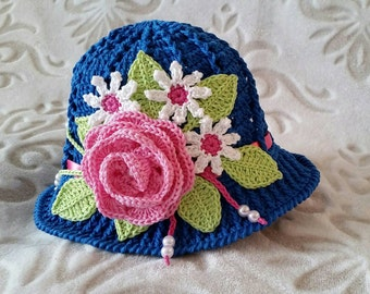 Crochet Cotton Cloche Sun Panama Hat Blue Baby Bonnet Hat with Rose, Daisies, Ribbon, And Pearls