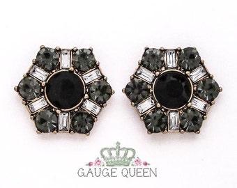 "Black Crystal Hex Plugs / Gauges. 00g / 10mm, 1/2"" / 12.5mm, 9/16"" / 14mm, 5/8"" / 16mm by GaugeQueenPlugs on Etsy"