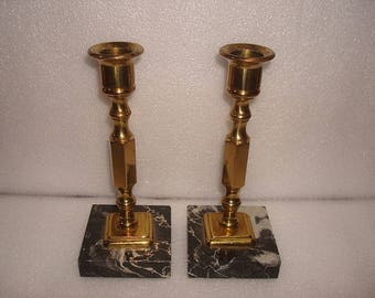 Set Of Two Heavy Brass And Black Marble Candlestick Holders