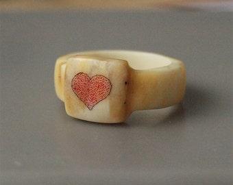 Antler ring, Size 6 US, Heart ring, Red heart ring, Scrimshaw ring, Engraved ring, Women rings, Antler jewelry, Bone rings, Bone jewelry