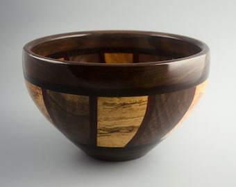 Night & Day 2 Segmented Wood Bowl in Curly Black Walnut, Curly Spalted Maple, Wenge, Bloodwood