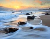 Large Beach Photography, Rhode Island Coast Photograph, Large Beach Art, Ocean Seascape Artwork, Coastal Wall Decor, Blue Yellow Orange