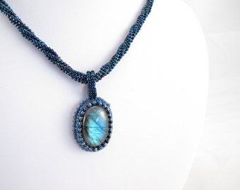 Necklace-Labradorite cabochon-bead embroidered-seed bead jewelry-herringbone rope-seed bead rope-sparkling necklace-designer-holiday necklac
