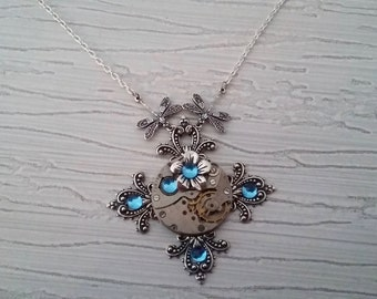 Steampunk cross pendant necklace